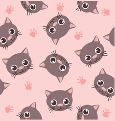 cute head cat seamless pattern vector image