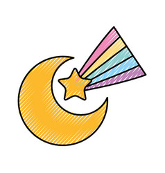 Cute moon shooting star vector