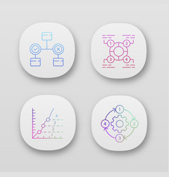 Diagram concepts app icons set decision vector