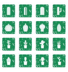 Different cactuses icons set grunge vector
