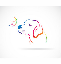 dogslabrador and butterflies on white background vector image
