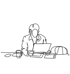 doodle business man working on laptop computer vector image