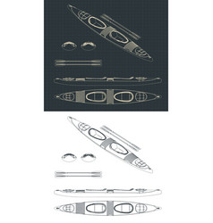 double kayak drawings vector image
