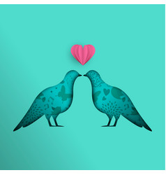 dove bird paper cutout design for love concept vector image