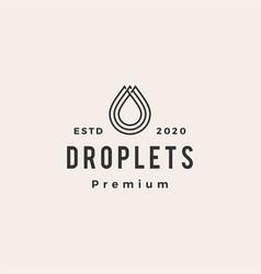 drop blood water oil droplet hipster vintage logo vector image