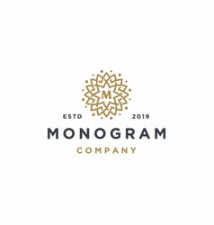 elegant letter m with flower logo design vector image