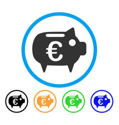 euro piggy bank rounded icon vector image