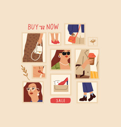 fashion collage sale poster shopping online vector image