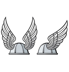 Gaelic helmet with wings vector