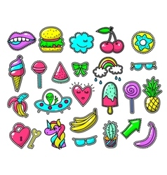 Girls fun applique patches cool doodles vector