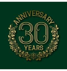 Golden emblem of thirtieth years anniversary vector