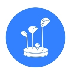 Golf ball and clubs on grass icon in black style vector image
