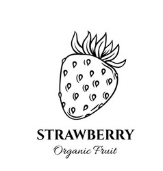 hand drawn strawberry icon vector image