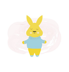 happy cute rabbit in blue sweater - cartoon vector image