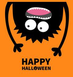 Happy halloween card pumpkin text screaming vector