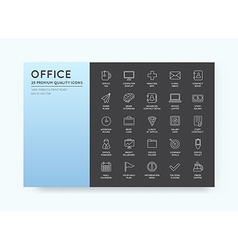 High Qulaity Office Outline Icons Set vector image