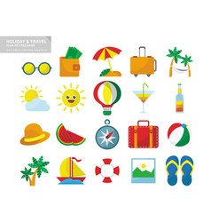 Holiday travel icon set package vector
