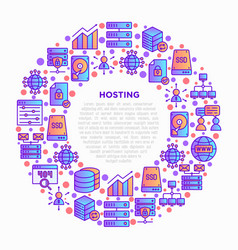 hosting concept in circle with thin line icons vector image