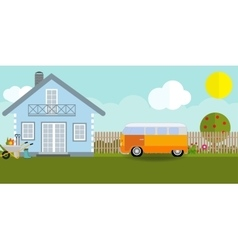 House in nature with apple trees cars flowers vector