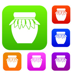 jam in glass jar set collection vector image
