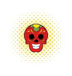 Latin skull icon comics style vector