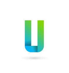 Letter u ribbon logo icon design template elements vector