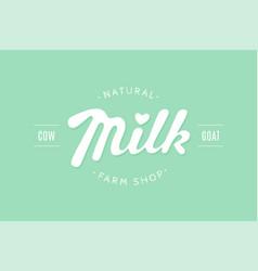 lettering milk hand written design for brand vector image