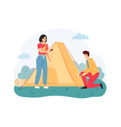 man and woman put up tent on nature outdoor vector image