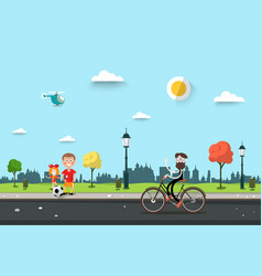 man on bicycle with children on sidewalk flat vector image