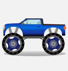 Monster truck with big wheels car vehicle in blue vector
