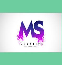 Ms m s purple letter logo design with liquid vector