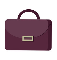 Purple suitcase with handle and clasp flat design vector