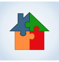 Real estate puzzle house vector