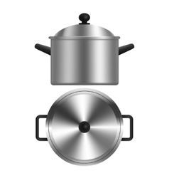 Realistic Metal Pot or Casserole vector image