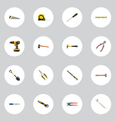 Realistic plumb ruler spanner hatchet and other vector