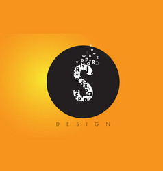 S logo made of small letters with black circle vector