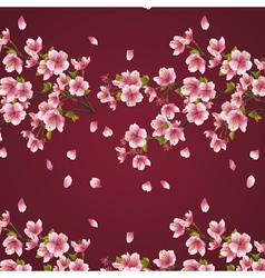 Seamless background with branch of cherry tree vector