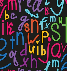 Seamless pattern with handwriting alphabet hand vector image