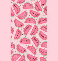 seamless pattern with pink watermelons slice of vector image