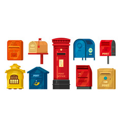 set isolated retro mailbox or vintage post box vector image