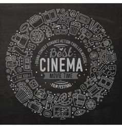Set of Cinema cartoon doodle objects vector
