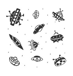 set of hand drawing ufo flying saucer vector image