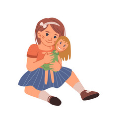 Small girl kid playing with doll cuddling toy vector