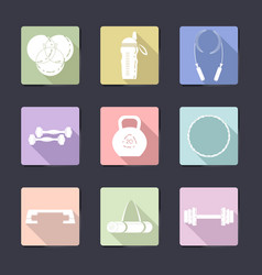 sport icon set fitness equipment vector image