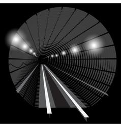 Subway underground train with lights vector