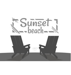 sunset on beach summer party black banner vector image