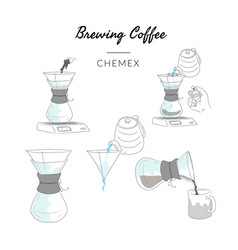 Types brewing coffee method chemex vector