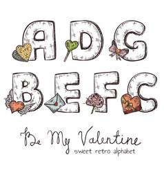 Valentine alphabet vector