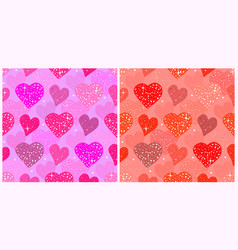 valentines day seamless patterns with pink vector image