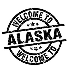 Welcome to alaska black stamp vector